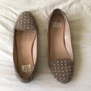 Dolce Vita Beige Suede Studded Loafers, size 9